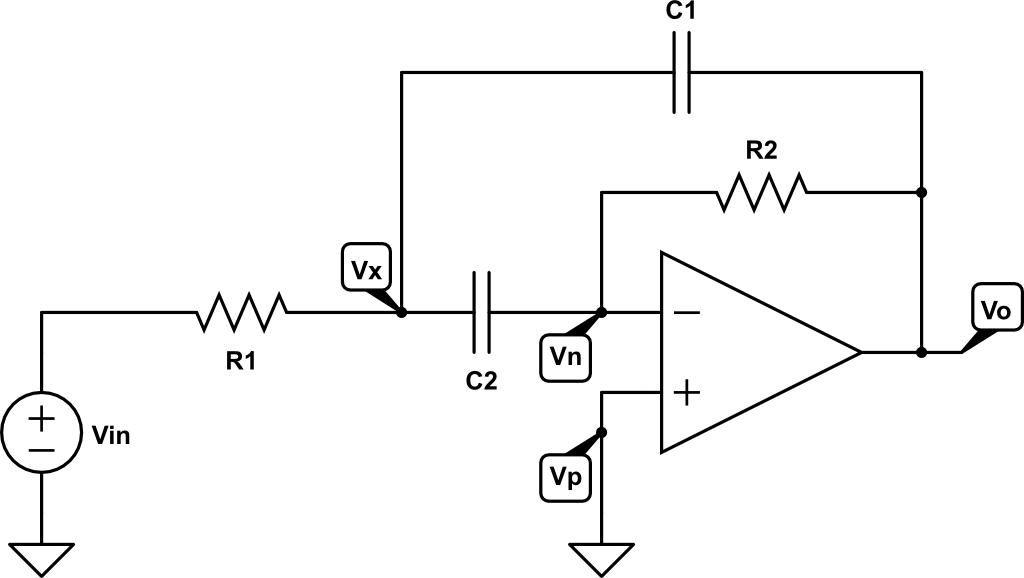 filtro paso banda activo con realimentaci u00f3n multiple